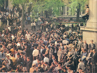 Crowds Outside Low Library