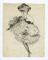 Pen sketch of can can girl for In Newport poster
