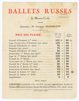 Ballets Russes de Monte-Carlo: Event Seating Price List
