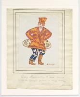 Costume drawing by Mikhail Larionov sent to Simon Lissim