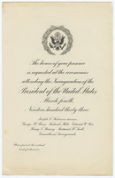 Invitation to the first presidential inauguration of Franklin Delano Roosevelt