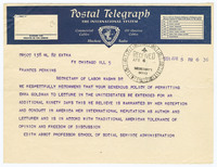 Telegram to Secretary of Labor Frances Perkins concerning Emma Goldman's admittance into the United States