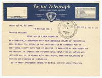 Telegram to Secretary of Labor Frances Perkins concerning Emma Goldman's admittance into the United States