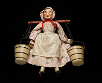 Milkmaid marionette with yoke and two pails