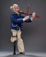 Peg-leg sailor marionette with fiddle and bow