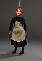 Marionette of maid in black with white apron