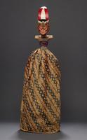 Wajang Golek rod puppet with orange/pink face