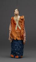 Jigging puppet of woman with polka dot skirt