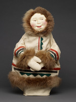 Eskimo hand puppet with fur trim