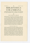 Bibliotheca Columbiana, Number 4, August 1937