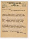 Telegram to George Arthur Plimpton, October 22, 1922