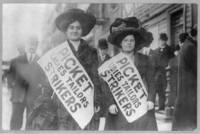 Strikes, ladies tailors, N.Y., Feb. 1910, picket girls on duty
